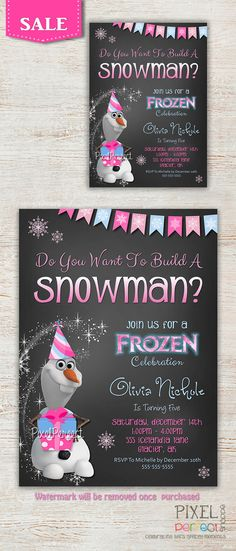 Frozen Birthday Invitations, Frozen Birthday Party, Frozen Invitations, Olaf Birthday Invitations, Frozen Magazine Cover Invitations