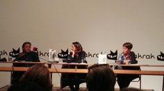 Juan Gracia Armendáriz, Oihana Iturbide y Aurora Lozano en la presentación de #Disecciones #Pamplona.
