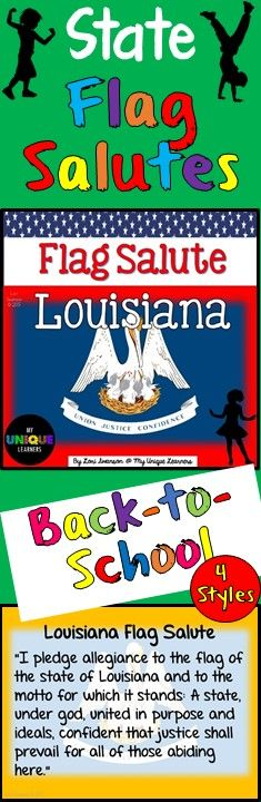 Many states require public school students to salute the state flag as well as pledge allegiance to the US flag. This product consists of 4 posters designed for use in classrooms to assist students in learning the salute to their state flag. 2 COLOR, 2 BLACK & WHITE.