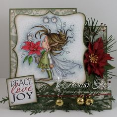 Featuring 'Poinsettia' from Wee Stamps.   #WeeStamps #WhimsyStamps #crafts #cards #DIY #handmadecard #cardmaking #rubberstamping #promarkers #paperflowers #christmas