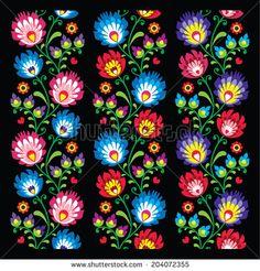 Seamless long Polish folk art pattern - wzory lowickie, wycinanka by RedKoala
