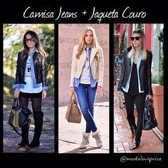 Instagram media by dicasbycassi - Enfim Sexta-feira!! A inspiração para o look de hoje é a sobreposição de camisa jeans com jaqueta de couro!! Despojado e moderno!! Ótimo dia a todos!! l📍 Fonte: Pinterest #lookdodia #lookoftheday #lookdeldia #dodia #dujour #fridaylook #ootd #tgif #minspira #instalook #instamoda #modalowprice #moda #modafeminina #fashion #fashionista #fashionlovers #achados #espiãdefastfashion