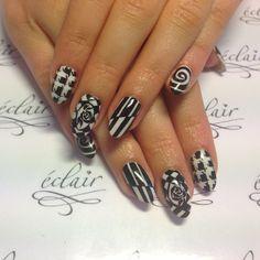#eclair #eclairnail #nail #nailart #nailporn #nailswag #black #white