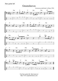 Free Guitar Sheet Music | Free Sheet Music Scores: Free bass guitar tab sheet music ...