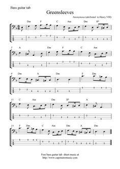 Free Guitar Sheet Music | Free Sheet Music Scores: Free bass guitar tab sheet music ...