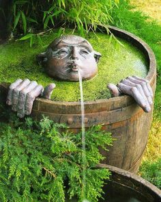 Out Door wine barrel water feature