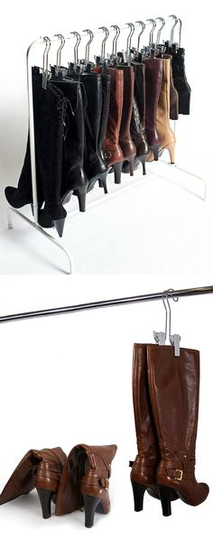 Boot rack + boot hangers // clever storage idea for boots to keep them in shape + prevent bending #product_design #organisation