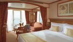Veranda Suite for a Luxury Cruise - Silver Wind   Silversea. Room Divider idea for making bonus room work as a guest room as needed.