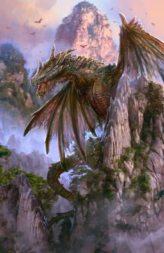 Dragon by PabloFernandezArtwrk Myriad of Dragons mountains jungle monster beast creature animal | Create your own roleplaying game material w/ RPG Bard: www.rpgbard.com | Writing inspiration for Dungeons and Dragons DND D&D Pathfinder PFRPG Warhammer 40k Star Wars Shadowrun Call of Cthulhu Lord of the Rings LoTR + d20 fantasy science fiction scifi horror design | Not Trusty Sword art: click artwork for source