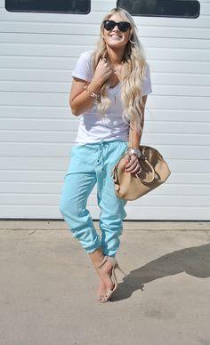 Spring jogging pants dressed up. CARA LOREN