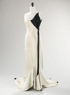 Jessie Franklin Turner. Evening Ensemble, circa 1930. Black-and-white silk slipper satin.
