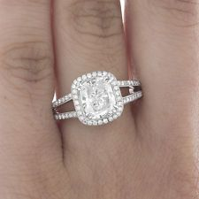2.00 CT GIA VS2 Clarity Halo Style Cushion Cut Diamond Engagement Ring 18k Gold