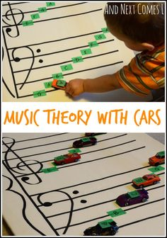 Music Theory with Cars {Music Activities for Kids} Music theory game for kids: learning about grand staff using cars from And Next Comes L.Music theory game for kids: learning about grand staff using cars from And Next Comes L. Music Activities For Kids, Music Lessons For Kids, Music For Kids, Piano Lessons, Kids Learning, Toddler Music, Children Music, Piano Y Violin, Piano Music