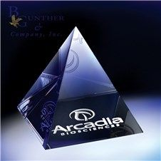 Pyramid Paperweight :: Optic crystal is the perfect medium for paying homage to this age-old classic. Rest assured your gift will forever be in style. Maximum etching area on bottom.