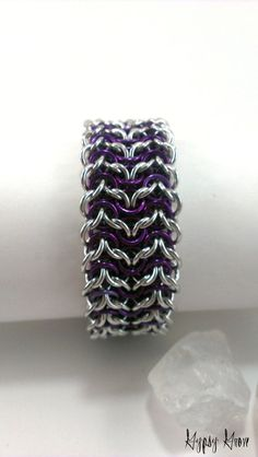 Purple and silver Elfsheet Chainmaille Cuff Bracelet by GypsyGrove