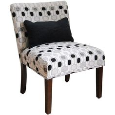 This wood-accent chair and pillow add a contemporary elegance to your room. The gray and black oval pattern contrasts strikingly with the white base to create a pleasing visual aesthetic, and the neutral tones suit it well to many existing decors.
