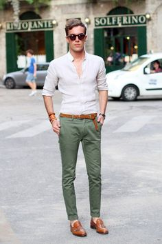 The Italians are known for effortless cool. The secret to this look is just 3 colours and they way it is styled. The belt tucked under, the sleeves rolled and couple of buttons open really relax the look.