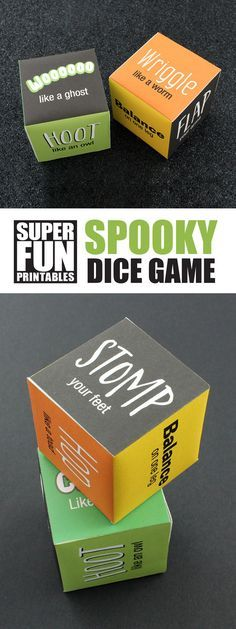 Spooky noise and action dice game for kids. This is a fun Halloween printable craft idea!