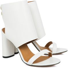 IRO - Susie sandals ($446) ❤ liked on Polyvore featuring shoes, sandals, leather sandals, retro sandals, leather footwear, genuine leather shoes and block heel shoes