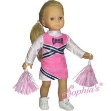 """Cheerleader costume that fits 18"""" american girl dolls. Use special discount code PIN10"""