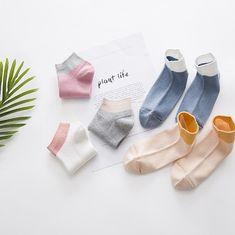 fb3c1b82c 2018 Spring Summer Combed Cotton Rib Contrast Color Socks Women ( 5 Pairs )   fashion