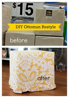 Restyle a cheap ottoman. #cube #ottoman #restyle #fabric