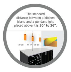"LED lighting fact | The standard distance between a kitchen island and a pendant light placed above it is 30"" to 36"" - by Edge Lighting"