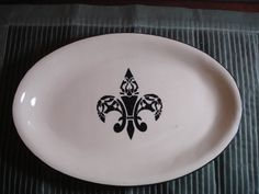 Ceramic Oval Black and White Fleur Di Leis Platter by Doublemuse, $25.00