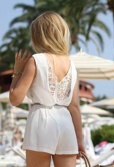 Topshop white lace playsuit