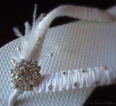 White Bridal flip flops  White ribbon  in by MyDreamWedding, $40.99