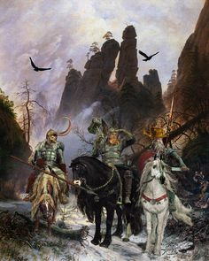 """""""The Giant Killers"""" Odin, [far right] His son Thor, the god of thunder Old High German Donar- from whom Thor's day AKA Thursday is named is shown with his mighty hammer Mjolnir. Also accompanying them is Loki, half-giant [Jotunn] and half-Aesir."""