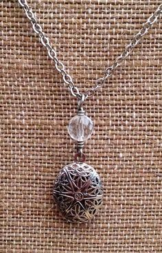Silver Diffuser Locket with Faceted Quartz Crystal Beaded Drop for Essential Oils on Etsy, $21.00