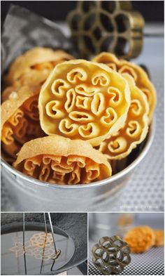 I grew up calling these pretty snack Kuih Rose. The name came after the rosette brass mould used in making this cookie. Some people called. Chinese New Year Desserts, Asian Desserts, Asian Snacks, Diwali Snacks, Diwali Food, Diwali Recipes, Goan Recipes, Snack Recipes, Dessert Recipes