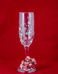 Toasting flutes Copa de champagne pintada a mano por MIDglass
