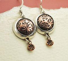 Silver and Copper Earrings Flower Earrings Two by BOBOJewelryShop, $55.00