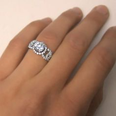 Diamond Engagement Halo Ring Natural Real Round Cut by ldiamonds