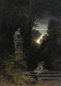 Ferdinand Knab - A Woman at a Fountain with Rising Moon art, painting, classical art Renaissance Kunst, Art Japonais, Classic Paintings, Classical Art, Gothic Art, Ferdinand, Nocturne, Traditional Art, Dark Art