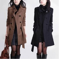 New Women Trench Woolen Coat Winter Slim Double Breasted Overcoat Winter Coats Long Outerwear for Women