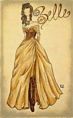 This looks like Belle& dress with a corset and boots, but I like the idea of doing a steampunk Belle. Disney Pixar, Fera Disney, Walt Disney, Disney Fan Art, Disney And Dreamworks, Disney Magic, Disney Characters, Disney Dream, Disney Style