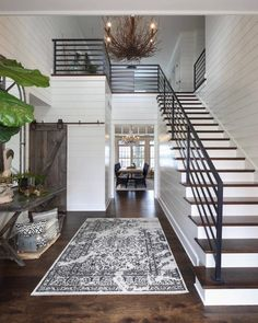 From rustic wood to modern metal, discover the top 70 best stair railing ideas. Explore stunning indoor staircase design inspiration and styles. Dream Home Design, Home Interior Design, Room Interior, Interior Design Farmhouse, Exterior Design, White House Interior, Unique House Design, Beautiful Houses Interior, House Beautiful