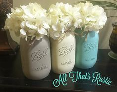 Painted Mason Jar Decor Mason Jar Centerpiece by AllThatsRustic