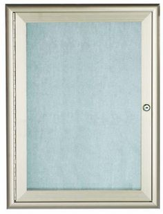 OWFC3624. Enclosed Bulletin Board with Aluminum Waterfall Style Frame. Frame is Silver. Back Panel is Neutral Burlap Weave Vinyl. 36″Hx24″W. One Door