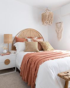 Looking for bedroom ideas? We love this pairing of crisp white with earthy terracotta. Cushions and throws available from Sea Tribe Australia. . #bedroomideas #fallhomemakeover #bedroomideasaustralia #australianinteriors #cushionsaustralia #bedroomaustralia #modernbohobedroom #canebed Room Design Bedroom, Room Ideas Bedroom, Bedroom Styles, Bedroom Inspo, Home Decor Bedroom, Boho Teen Bedroom, Bohemian Style Bedrooms, Bed Room, Earthy Bedroom