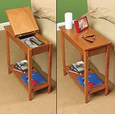 56 new Ideas hidden storage furniture secret compartment Storage Chair, Wood Storage Box, Side Table With Storage, Hallway Storage, Ikea Storage, Bedroom Storage, Table Behind Couch, Chair Side Table, Side Tables