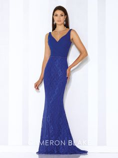 Cameron Blake - Sleeveless lace and chiffon fit and flare gown with front and back V-necklines, crisscross ruched chiffon bodice with hand-beaded natural waist, lace skirt with sweep train.