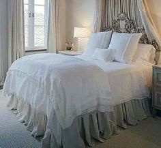 Extra long gathered bed skirt.