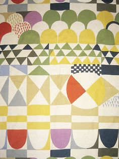 Bows by Josef Frank Screen-Printed Furnishing Linen Swedish, ca. 1960