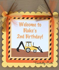 NEW  Construction Door Sign personalized by ToadallyCuteParties,