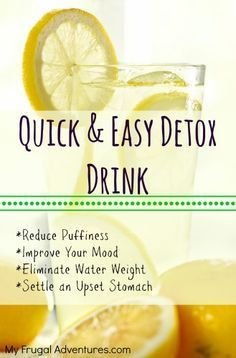 Quick Lemon Detox Drink- improve your mood, eliminate puffiness in the face, settle an upset stomach, help digestion and so many more benefits to this simple drink! I need to try a detox drink! Detox Drinks, Healthy Drinks, Get Healthy, Healthy Life, Healthy Living, Healthy Water, Healthy Detox, Healthy Lunches, Healthy Summer