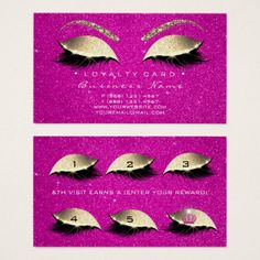 #Loyalty Card 6 Lashes Gold Hot Pink Crown Glitter - #office #gifts #giftideas #business
